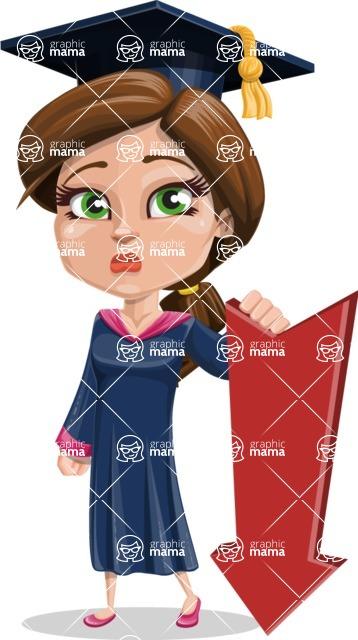 Cute Graduation Girl Cartoon Vector Character AKA Sheryl - Pointer 3