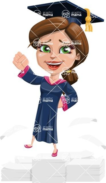 Cute Graduation Girl Cartoon Vector Character AKA Sheryl - On Top