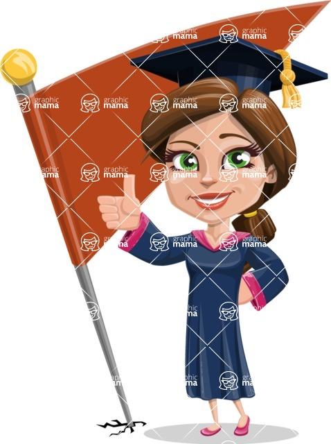 Cute Graduation Girl Cartoon Vector Character AKA Sheryl - Chackpoint