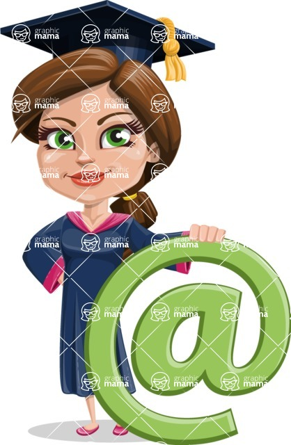 Cute Graduation Girl Cartoon Vector Character AKA Sheryl - Web
