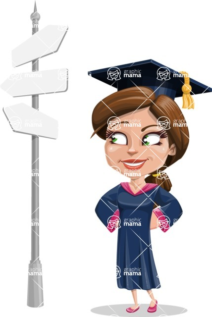 Cute Graduation Girl Cartoon Vector Character AKA Sheryl - Crossroad