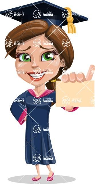 Cute Graduation Girl Cartoon Vector Character AKA Sheryl - Sign 1