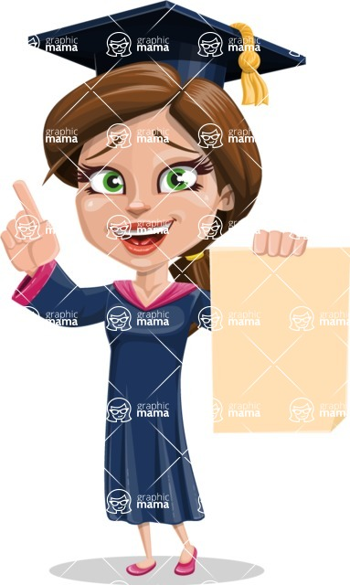 Cute Graduation Girl Cartoon Vector Character AKA Sheryl - Sign 2