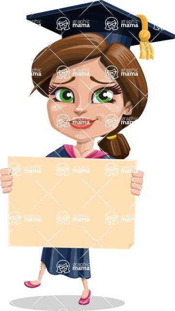 Cute Graduation Girl Cartoon Vector Character AKA Sheryl - Sign 4