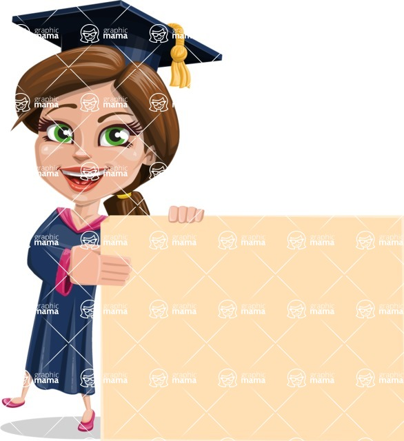 Cute Graduation Girl Cartoon Vector Character AKA Sheryl - Sign 8