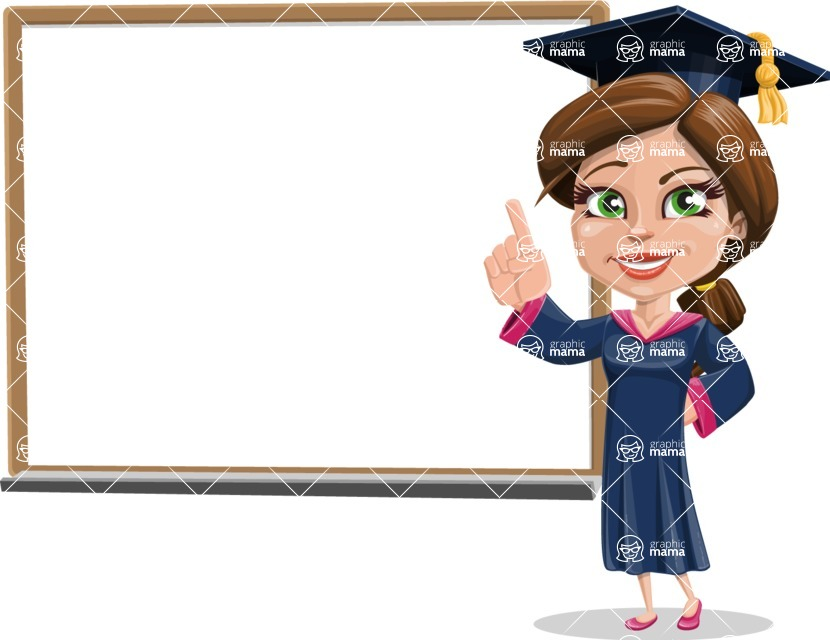 Cute Graduation Girl Cartoon Vector Character AKA Sheryl - Presentation 3