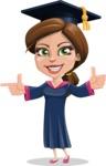 Cute Graduation Girl Cartoon Vector Character AKA Sheryl - Point 2