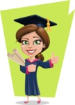 Cute Graduation Girl Cartoon Vector Character AKA Sheryl - Shape 7