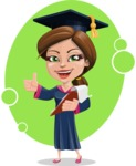 Cute Graduation Girl Cartoon Vector Character AKA Sheryl - Shape 11