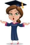 Cute Graduation Girl Cartoon Vector Character AKA Sheryl - Shocked