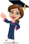 Cute Graduation Girl Cartoon Vector Character AKA Sheryl - Hello