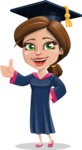 Cute Graduation Girl Cartoon Vector Character AKA Sheryl - Thumbs Up
