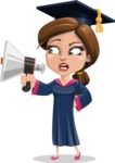 Cute Graduation Girl Cartoon Vector Character AKA Sheryl - Loudspeaker