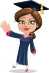 Cute Graduation Girl Cartoon Vector Character AKA Sheryl - Wave