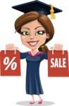 Cute Graduation Girl Cartoon Vector Character AKA Sheryl - Sale 2