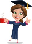 Cute Graduation Girl Cartoon Vector Character AKA Sheryl - Coffee