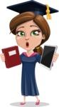 Cute Graduation Girl Cartoon Vector Character AKA Sheryl - Book and iPad