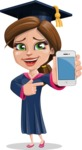 Cute Graduation Girl Cartoon Vector Character AKA Sheryl - iPhone