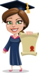 Cute Graduation Girl Cartoon Vector Character AKA Sheryl - Diploma