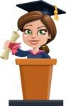 Cute Graduation Girl Cartoon Vector Character AKA Sheryl - Speech