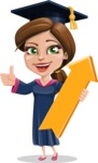 Cute Graduation Girl Cartoon Vector Character AKA Sheryl - Pointer 1