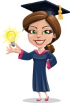 Cute Graduation Girl Cartoon Vector Character AKA Sheryl - Idea