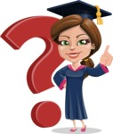 Cute Graduation Girl Cartoon Vector Character AKA Sheryl - Question