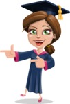 Cute Graduation Girl Cartoon Vector Character AKA Sheryl - Point
