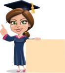 Cute Graduation Girl Cartoon Vector Character AKA Sheryl - Sign 7