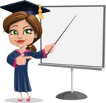 Cute Graduation Girl Cartoon Vector Character AKA Sheryl - Presentation 2