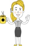 Geometry Blonde Girl Vector Character: Illuminating Yellow Edition 2021 - Coffee