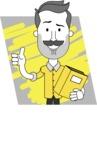 Minimalistic Man Vector Character: Illuminating Yellow Edition 2021 - Shape 5