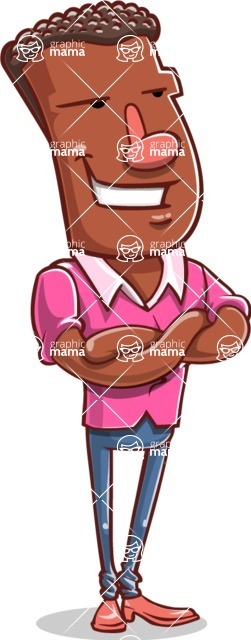 Vector African American Man Cartoon Character Design AKA Bud - Patient