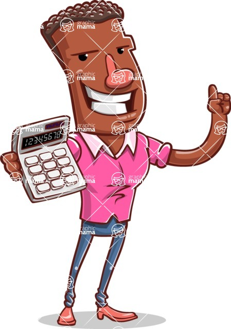 Vector African American Man Cartoon Character Design AKA Bud - Calculator