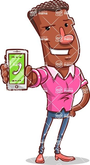 Vector African American Man Cartoon Character Design AKA Bud - iPhone