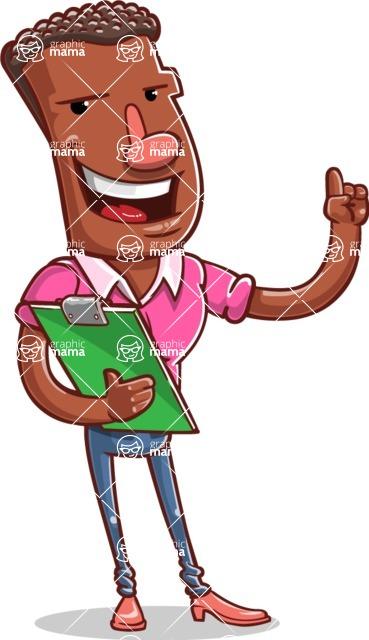 Vector African American Man Cartoon Character Design AKA Bud - Notepad 2
