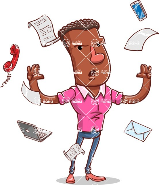Vector African American Man Cartoon Character Design AKA Bud - Office Fever