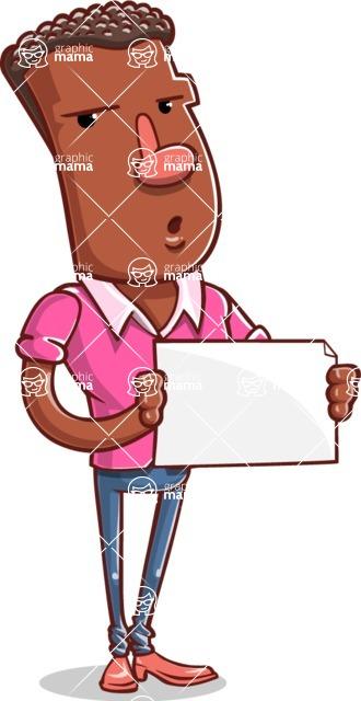 Vector African American Man Cartoon Character Design AKA Bud - Sign 4