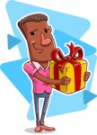 Vector African American Man Cartoon Character Design AKA Bud - Shape 6