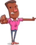 Vector African American Man Cartoon Character Design AKA Bud - Direct Attention