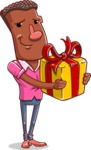 Vector African American Man Cartoon Character Design AKA Bud - Gift