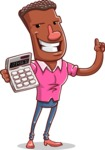 Vector African American Man Cartoon Character Design AKA Bud - Calculator