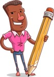 Vector African American Man Cartoon Character Design AKA Bud - Pencil