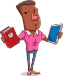 Vector African American Man Cartoon Character Design AKA Bud - Book and iPad