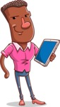 Vector African American Man Cartoon Character Design AKA Bud - iPad3