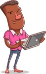 Vector African American Man Cartoon Character Design AKA Bud - Laptop 1