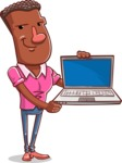 Vector African American Man Cartoon Character Design AKA Bud - Laptop 3