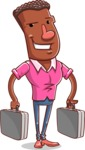 Vector African American Man Cartoon Character Design AKA Bud - Brifcase 3