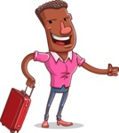 Vector African American Man Cartoon Character Design AKA Bud - Travel 1