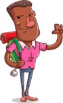 Vector African American Man Cartoon Character Design AKA Bud - Travel 2